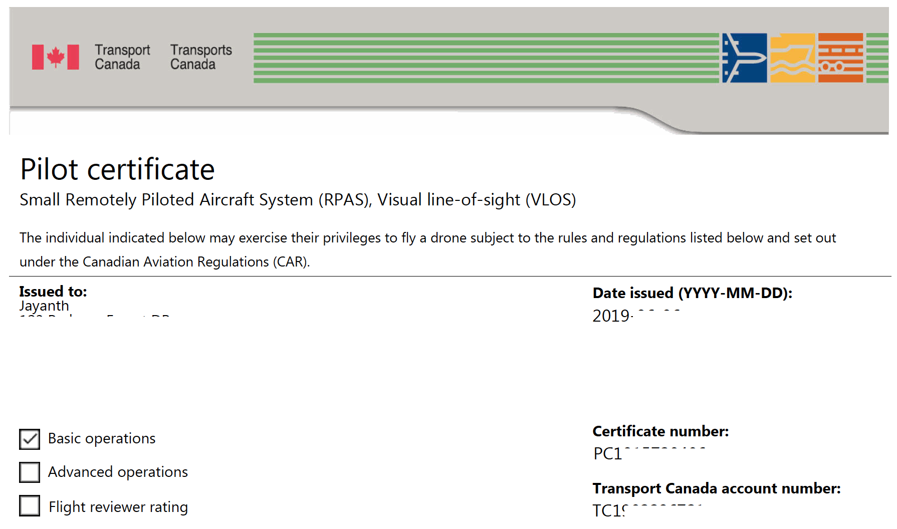 basic license required to fly a drone in Canada