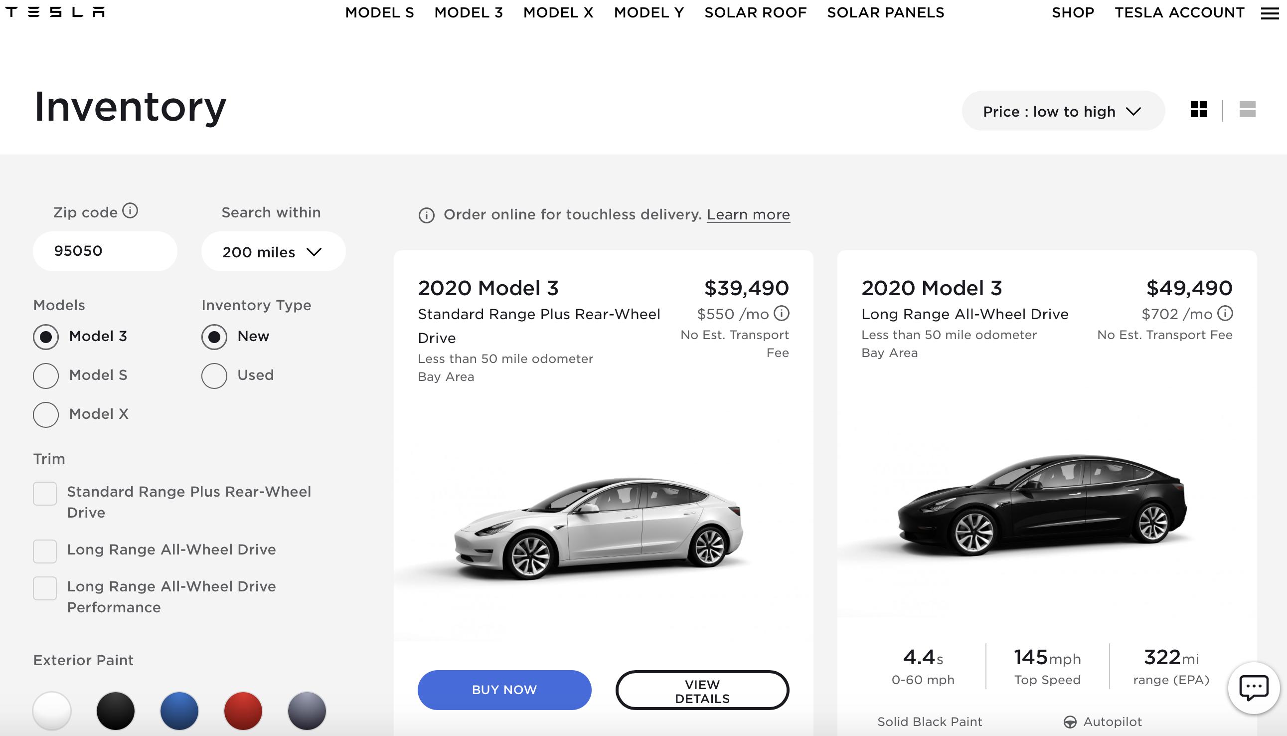 Tesla Inventory cars