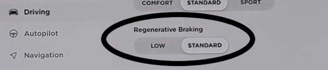 Regenerative Breaking Setting