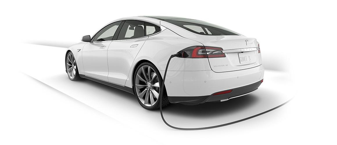 Plugged in Tesla Model S